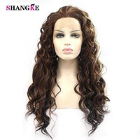 SHANGKE Long Curly Hair Synthetic Front Lace Wig for Black Women Heat Resistant Fiber Hair Cosplay Wigs Macchar Cosplay Catalogue