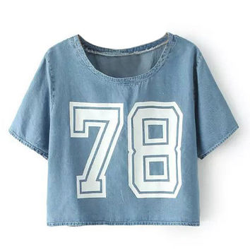 Blue 78 Printed Denim T-Shirt