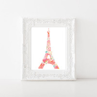 Eiffel Tower Paris Floral Watercolor - 8x10 print - Flower Watercolor Art Print - DIY Printable - Paris art print - France art - French art
