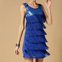 GREAT GATSBY FRINGE 1920s STYLE ELEGANT FLAPPER CHARLESTON PARTY ART DECO DRESS WITH FREE SHIPPING 263