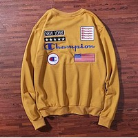 Champion New fashion embroidery letter national flag couple long sleeve sweater Brown