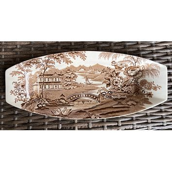 Brown English Transferware Clarice Cliff Celery Relish Tray Staffordshire Dish