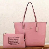 Coach Women Leather Zipper Shopping Shoulder Bag Handbag