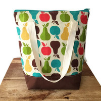 Large Insulated Lunch Bag, Large Picnic Bag, Large Insulated Picnic Tote, Insulated Cooler