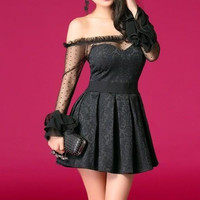 Alluring Slash Nack Solid Color Lace Splicing Flouncing Long Sleeves Slimming Women's Pleated Dress