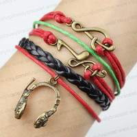 Bangle bracelets and headset and high notes - retro fashion bracelet - the best gift of friendship