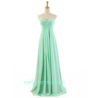Mint Long Chiffon Bridesmaid Dress Cheap Mint Coral Peach Red Grey Black Prom/Homecoming/Party/Cocktail Dress Wedding Party Dress 2014