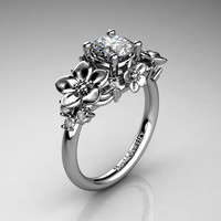 Nature Inspired 14K White Gold 1.0 Ct Russian Ice Cubic Zirconia Diamond Leaf Vine Unique Floral Engagement Ring R1026-14KWGDRICZ