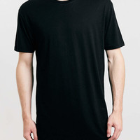 BLACK LONGER LENGTH T-SHIRT - Men's T-Shirts & Vests - Clothing - TOPMAN