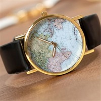 U-beauty GreatCase Unisex Elegant Retro Old Classic Luxury World Map Bracelet Quartz Wrist Watch with Leather Band