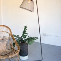 Metal Floor Lamp with Wire Mesh Shade