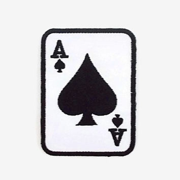 A Black Spade Club Card Game New Sew on / Iron On Patch Embroidered Applique Size 5.4cm.x7.4cm.