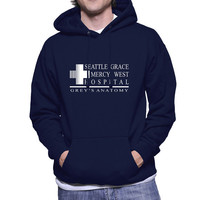 Seattle Grace Mercy Hospital White print on Black, Navy, Maroon or Forest green Hoodie