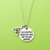 I solemnly swear I am up to no good, Pyramid, Silver, Necklace, Harry Potter, Necklace, Gift, Jewelry