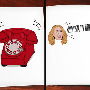Adele Hello Funny Lyrics Greeting - Break Up / Friendship / I'm Sorry / Relationship Card 5 X 7 Inches