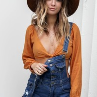 Second Chance Rust Tie Top