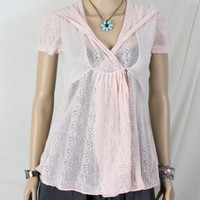 Anthropologie Knitted Knotted Sweater S size Pink Hooded Lace Short Sleeve Top