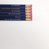 Pitch perfect pencil set 6 six pack pencils in navy blue.