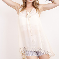 Izzy Semi-sheer High Low Tunic Tank with Lace: Cream, Black