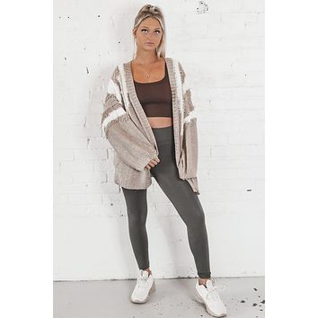 Better Off Taupe Abstract Cardigan