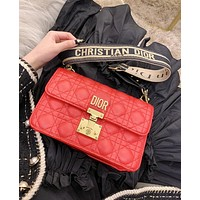Dior Fashionable Women Classic Leather Shoulder Bag Crossbody Satchel Red