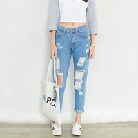 Ripped Ninth Denim Pants
