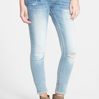 Junior Women's Vigoss Distressed Skinny Jeans (Light Wash)