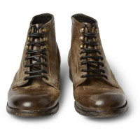 Dolce & GabbanaDistressed-Leather Lace-Up Boots|MR PORTER