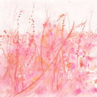 Art  Watercolor Painting  ,  Watercolor  Flower  , Home Decor , Wall decoration Pink and orange