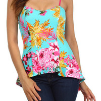 Floral Print High Low Sweetheart Top - TURQUOISE