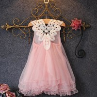 Pink Kids Clothing Summer Dresses For Girls Dress Floral Print Cotton Birthday Party Sundress Baby Children Clothes