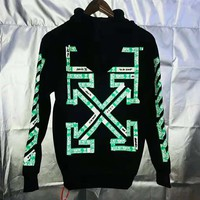 Off White New fashion more letter print hooded long sleeve sweater top Black