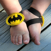 READY TO SHIP...Baby Barefoot Sandals...Batman Sandals..Toddler Sandals..Newborn Sandals..Boy Barefoot Sandals