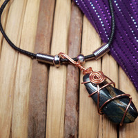SPIRIT PERSPECTIVE Talisman with Hawk's Eye - Aids You in Seeing The Bigger Purpose For Your Life and Gathering Perspective From Spirit - Wire Wrapped Stone Necklace