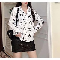 """""""Gucci"""" Woman Leisure Fashion Letter Printing Wild Long Sleeve Shirt Leisure Tops"""