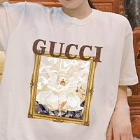 GUCCI Angel Oil Painting Frame Men's and Women's Casual Short Sleeve T-Shirt