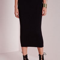 Missguided - Longline Jersey Midi Skirt Black