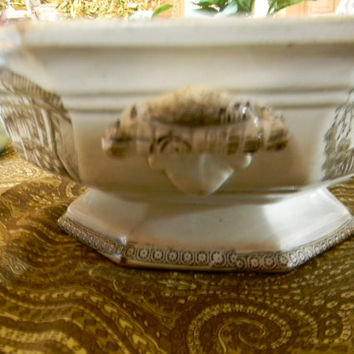 Antique Brown Staffordshire Transferware Handled Footed Bowl Chinese Motif RARE