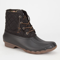 Sperry Saltwater Quilted Womens Duck Boots Black  In Sizes