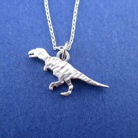 Textured Velociraptor Dinosaur Silhouette Shaped Pendant Necklace in Silver