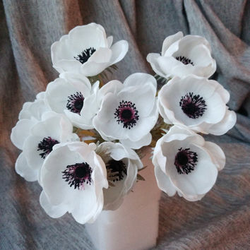 10 pcs Real Touch White Anemones Wedding Flowers For Bouquet Table Centerpieces Natural PU Flowers