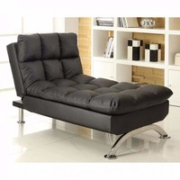 Sophisticatedly Designed Contemporary Leatherette Chaise, Black By Casagear Home