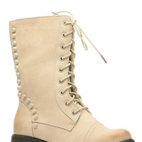 Natural Faux Leather Studded Lace Up Combat Boots
