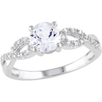Walmart: 1 Carat T.G.W. Created White Sapphire and 1/10 Carat T.W. Diamond 10 Carat White Gold Cross-Over Engagement Ring