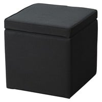 Square Storage Ottoman Black