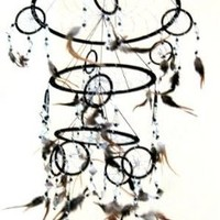 """Dream Catcher Traditional SUEDE Black Color With Feathers & Beads, 7"""" Diameter & 25"""" Long - OMA® BRAND"""