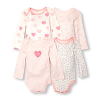 Baby Girls Layette Long Sleeve 'My Family Loves Me' Bodysuit 4-Pack | The Children's Place