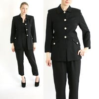 Vintage 80's Black Wool Military Fitted Jacket with Metal Buttons