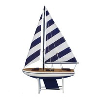 "Wooden It Floats 21"" - Rustic Blue Striped Floating Sailboat Model"