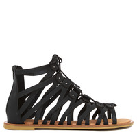 Strappy Gladiator Lace Up Black Sandals